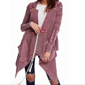 Free People M All Washed Out Purple Cardigan